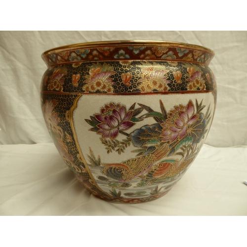 30 - Pair of Oriental crackle glaze pottery fish bowls - ht. 25cm., diam. 33cm
