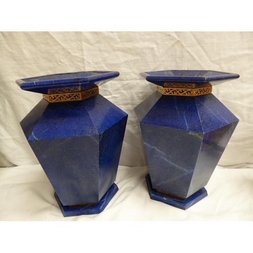 36 - A pair of Aventurine veneered hexagonal tapering vases - ht. 27cm