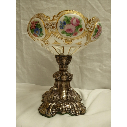 38 - 19th/20thC Bohemian lobed glass bowl with gilt and floral decoration on a chased silver stand, ht. 2...