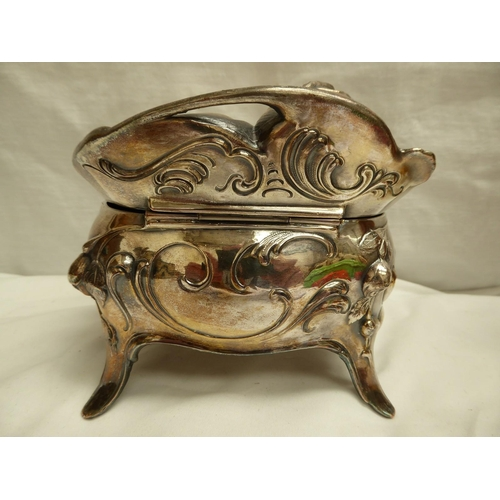 39 - Continental Art Nouveau silver plated metal bombe shaped jewel box with chased decoration of a rose,...