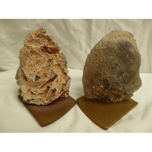 4 - Pair of cut hard-stone geodes mounted on ormolu bases to make bookends - ht. 13cm