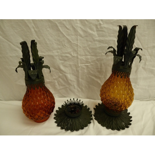 5 - Pair of amber glass painted metal candle lamps in the form of pineapples - ht. 38cm
