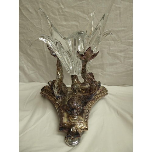 52 - An early 20thC EPNS centre piece of three dolphins holding a Baccarat splash clear glass bowl - ht. ...