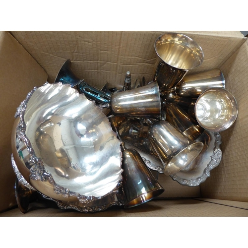 54 - Large box of EPNS and plated ware goblets, bowls, dishes, trays, etc.