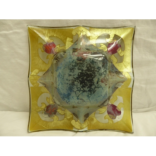 6 - A square lobed glass dish with painted and gilt decoration in the Art Nouveau style - 23cm square