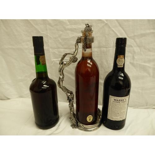 9 - Three bottles of fortified wine - 1) Warre's 1977 ullage bottom of neck, 2) Mavros 1937, 3) Ramos, P...