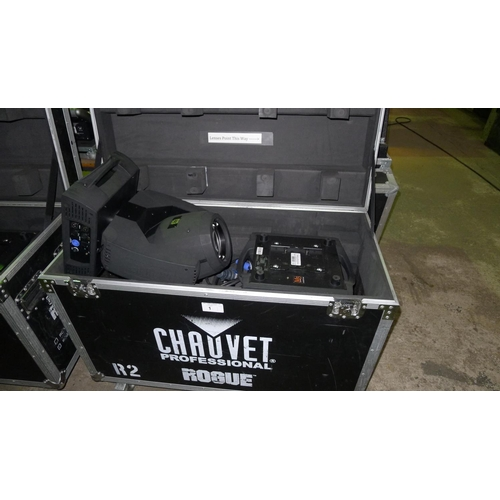 1 - 2 moving head lights by Chauvet Professional type Rogue R2 Beam, 240v,  YOM 2014, contained in a whe...