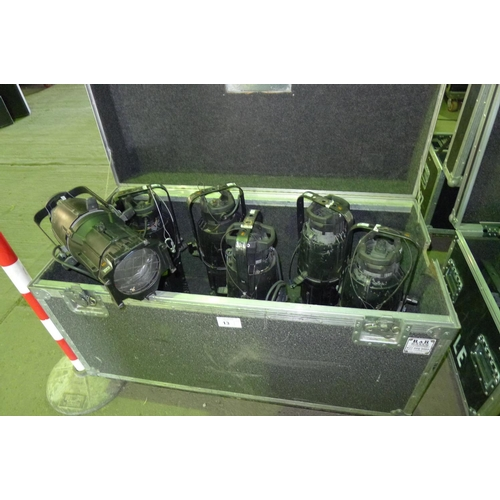 13 - 6 lights by ETC type Source Four,  240v, contained in a wheeled flight case - 4 x 36 degree & 2 x 19...
