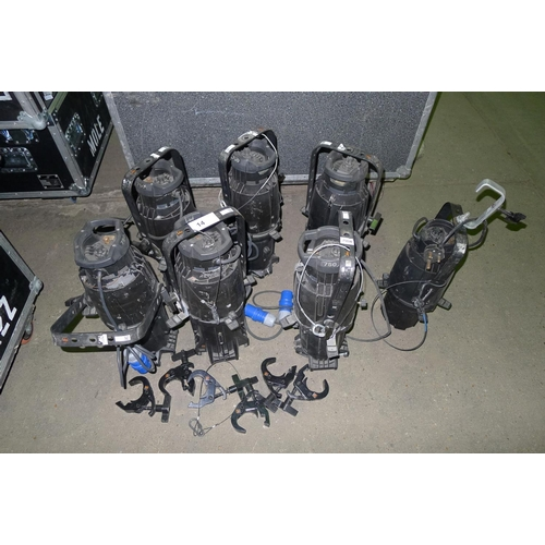 14 - 6 lights by ETC type Source Four,  240v, contained in a wheeled flight case - 4 x 36 degree & 2 x 19...