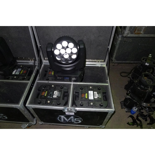 15 - 4 moving head LED lights by Chauvet Professional type Legend 412z, 240v, contained in a wheeled flig...