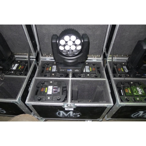 16 - 4 moving head LED lights by Chauvet Professional type Legend 412z, 240v, contained in a wheeled flig...