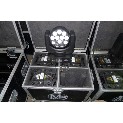 17 - 4 moving head LED lights by Chauvet Professional type Legend 412z, 240v, contained in a wheeled flig...