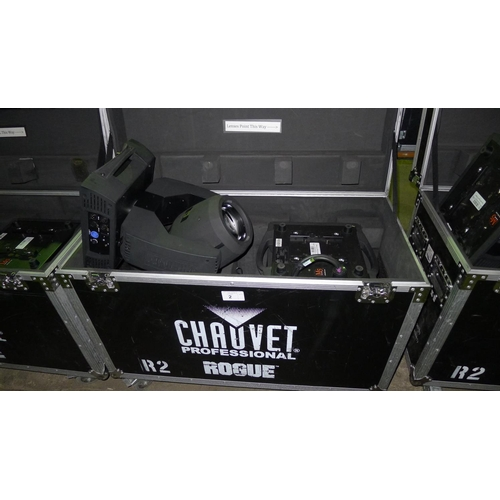 2 - 2 moving head lights by Chauvet Professional type Rogue R2 Beam, 240v,  YOM 2014, contained in a whe...