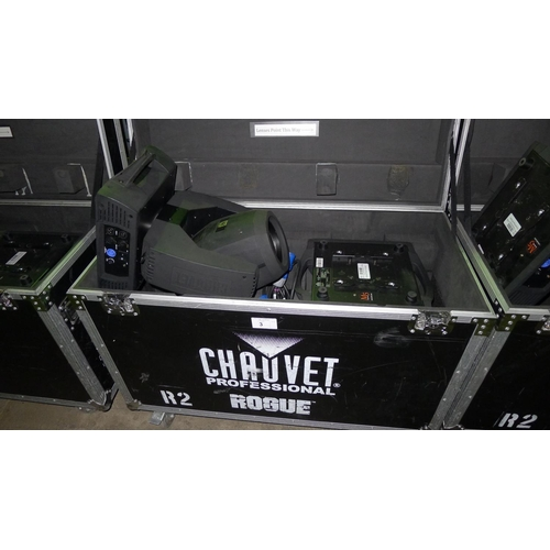 3 - 2 moving head lights by Chauvet Professional type Rogue R2 Beam, 240v,  YOM 2014, contained in a whe...