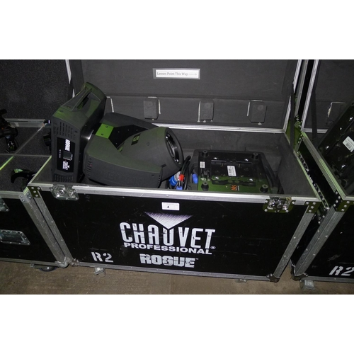 4 - 2 moving head lights by Chauvet Professional type Rogue R2 Beam, 240v,  YOM 2014, contained in a whe...