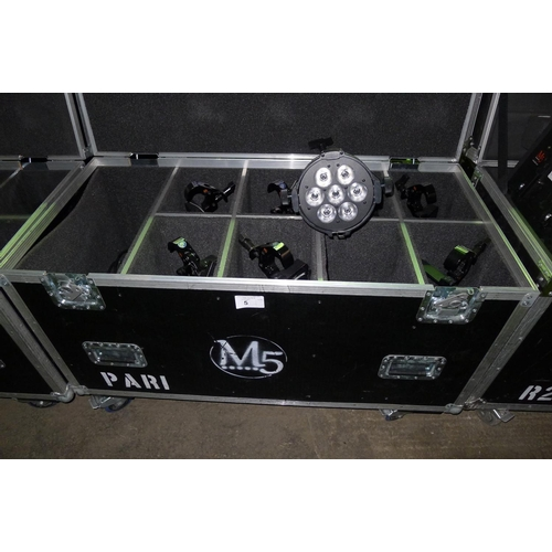 5 - 8 LED PAR 1 lights by Martin type Rush, 240v, contained in a wheeled flight case...