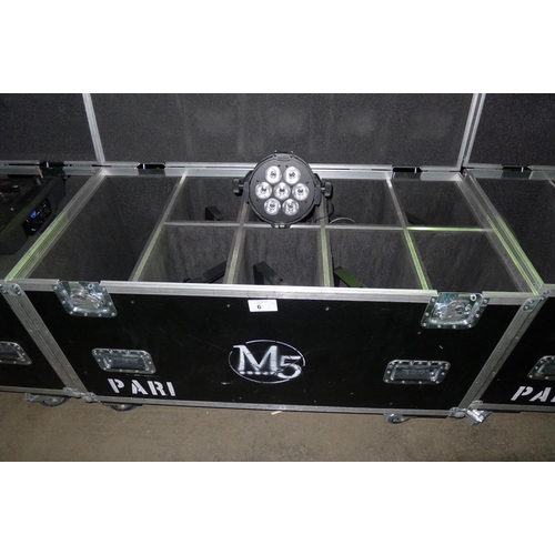 6 - 8 LED PAR 1 lights by Martin type Rush, 240v, contained in a wheeled flight case...