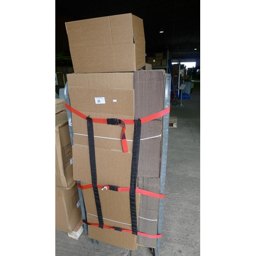 22 - A quantity of flat packed small cardboard boxes size: 15x27x40cm - contents of 1 wheeled cage which ...