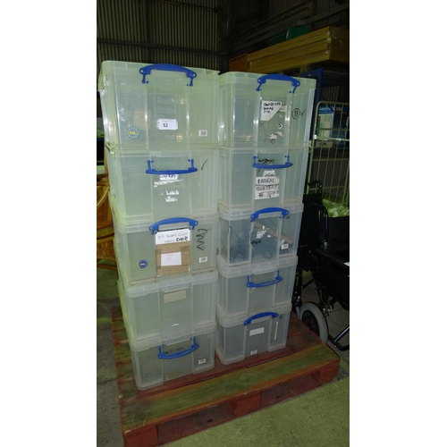 52 - 10 x plastic crates with lids by The Really Useful Box Company...