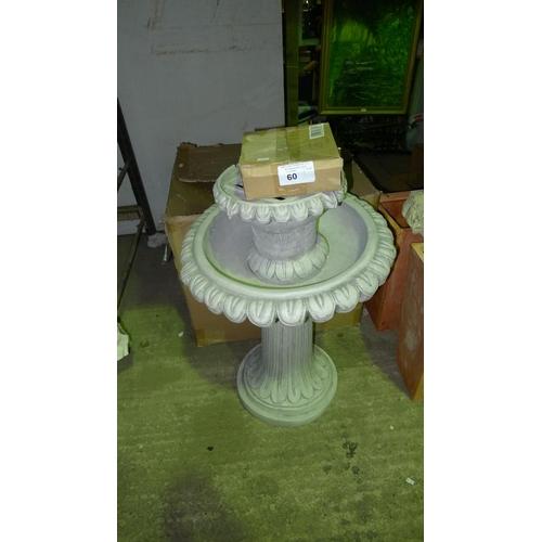 60 - 1 garden water feature - grey 2 tier...