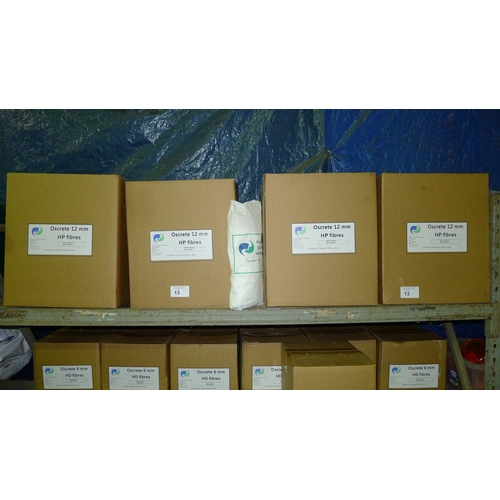 13 - 4 boxes of Oscrete 12mm HP fibres - each box contains 30 x 600g bags. Contents of one shelf. VIEWING...
