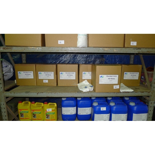 14 - 7 boxes of Oscrete 6mm HD fibres - each box contains 30 x 450g bags. Contents of one shelf. VIEWING ...