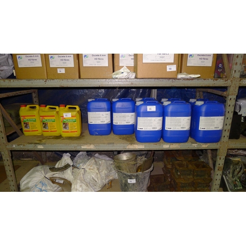 15 - 8 x 10kg cans of Mapei Mapescreed 704 & 3 x 5L cans of Sika Accelerator. Contents of one shelf. VIEW...