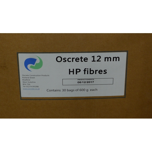 18 - 3 boxes of Forta Ferro 54mm fibres (1 is not a full box) , 2 boxes of Oscrete 12mm HP fibres & 2 box...