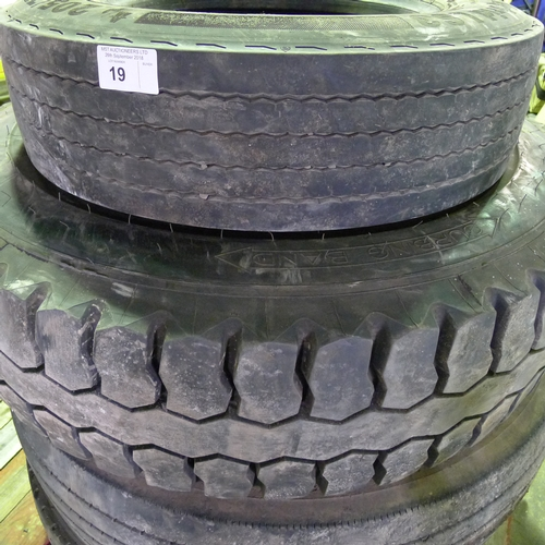 19 - 4 commercial vehicle tyres comprising of 1 x Continental 205/75R17.5, 1 x Bandvulc 295/80R22.5, 1 x ...