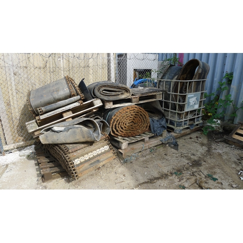 27 - A quantity of various items including chain driven rubber belts, a lorry tyre etc. VIEWING on site a...