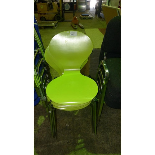 1007 - 4 green coloured bent wood stacking chairs...