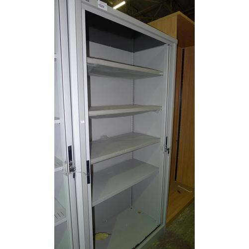 1029 - 1 unused grey metal shutter front cabinet by Silverline...