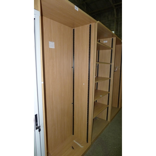1030 - 1 unused tall wood effect open front shelf unit...