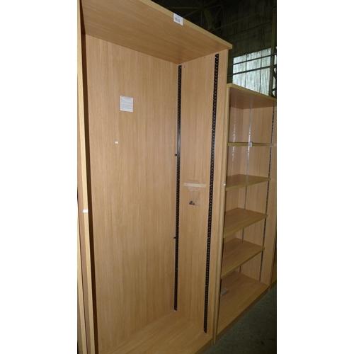 1033 - 1 unused tall wood effect open front shelf unit...