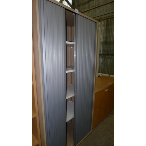 1039 - 1 tall wood effect / silver shutter front cabinet by Tangent...