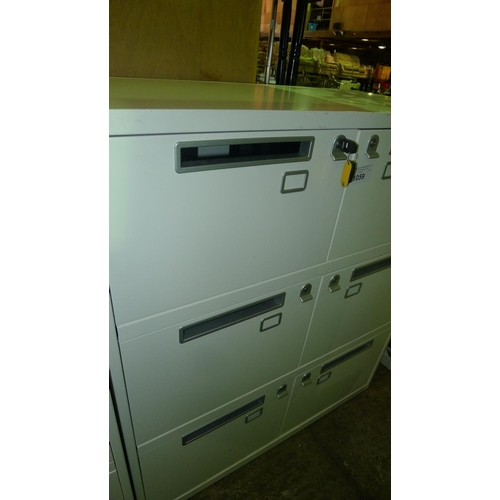 1059 - 1 cream metal 6 person personnel locker with post slot doors supplied with all keys...