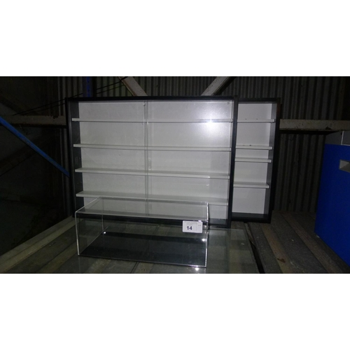 14 - 2 display cabinets each with 2 sliding glass doors suitable for displaying model cars etc and 1 pers...