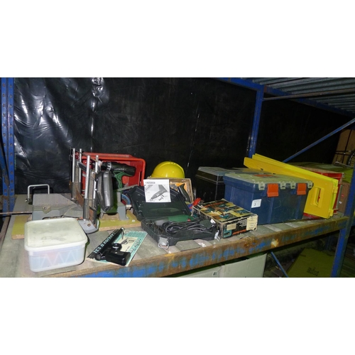 3 - A quantity of various tools and other items including a jigsaw, a hand mitre saw, a Stanley plane, a...