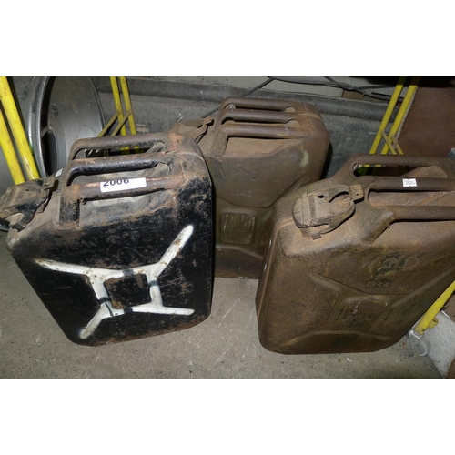 2006 - 3 vintage metal jerry cans - 1944, 1945 & 1952...