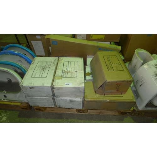 3056 - 1 pallet containing 9 various ceramic wall basins...