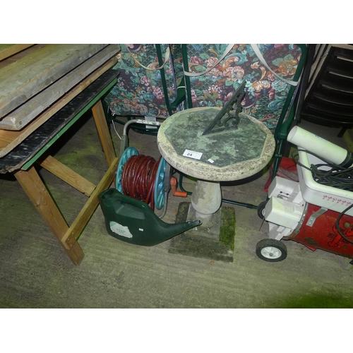 24 - 1 garden sundial, 1 garden hose & 1 watering can...