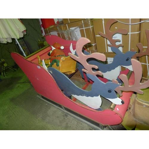 32 - 2 novelty Santa sledges - 1 large 6ft x 3ft & 1 small...