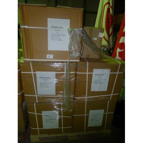 55 - 10 boxes each containing 212 x ObBabee plastic bottles and 1 box containing 2156 metal lids...