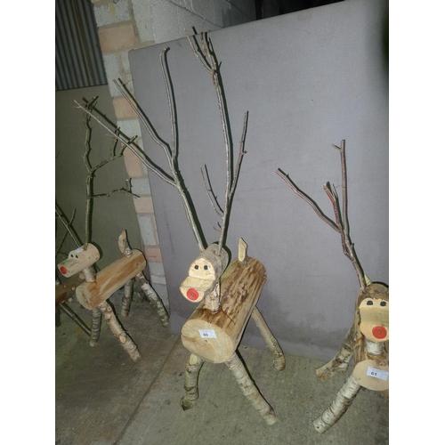 60 - 1 hand crafted rustic wooden reindeer...