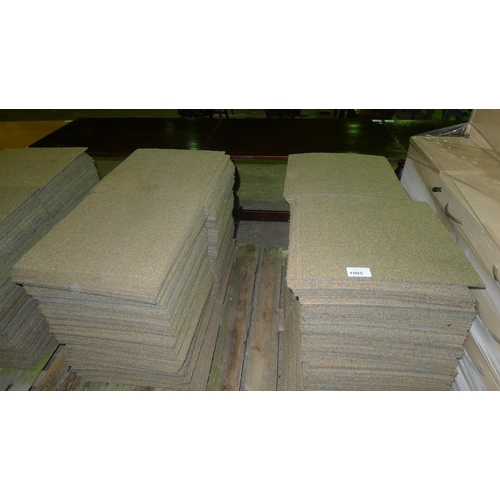 1005 - 2 pallets containing a total of approx 400 brown/gold carpet tiles. Each tile rubber backed and meas...