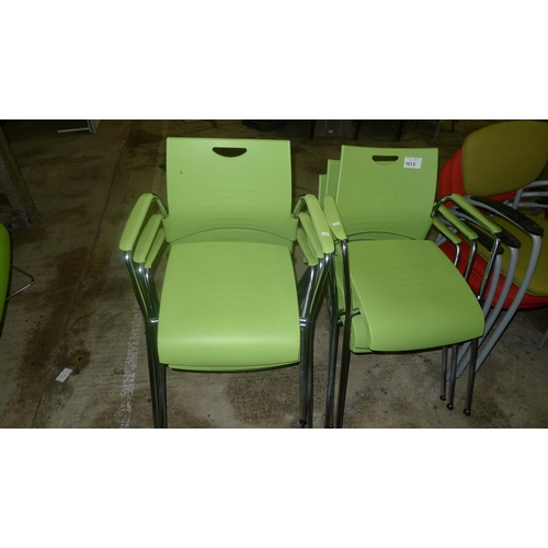 1015 - 6 green plastic / metal stacking chairs by  Mobilex...