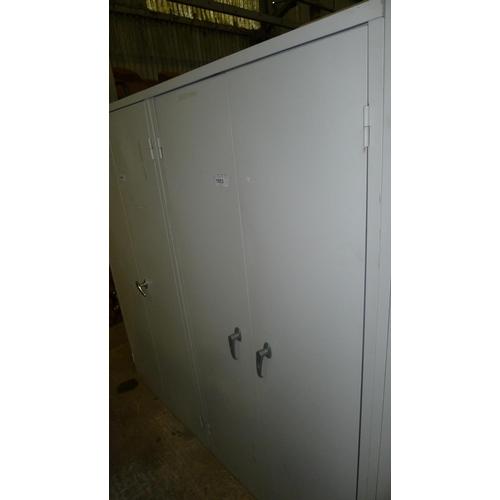 1053 - 1 grey metal 2 door storage cabinet approx 6ft by 3ft...