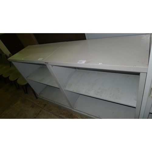 1057 - 2 low grey metal open front cabinets by Bisley...