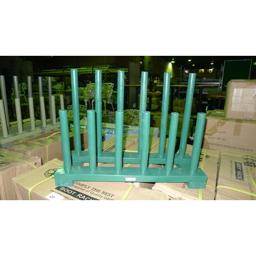 8 - 11 wooden Wellington boot stands in various colors. Contents of one shelf...