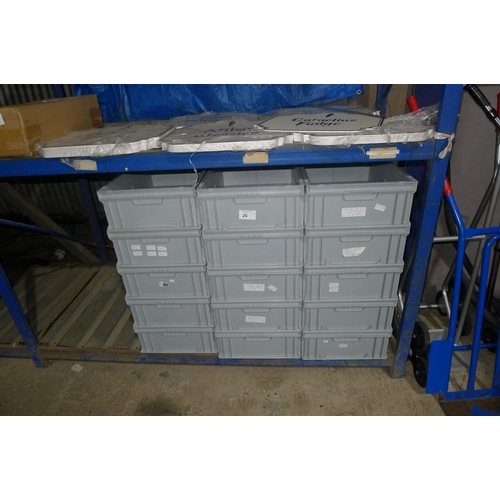 26 - 15 grey plastic stacking boxes...